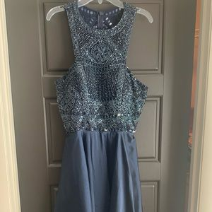 Sherri Hill Navy Beaded Homecoming Dress
